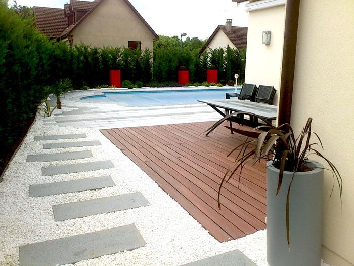 Cr ation des plages de piscine et piscines pour votre - Amenagement abord piscine ...